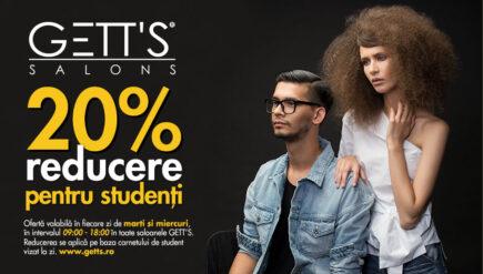 20% reducere pentru studenti in toate saloanele GETT'S